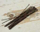 "3"" Hand Antiqued Solid Brass Headpins 22g Rounded Flat 2mm Heads - 20 pieces, Findings"