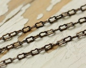 6ft Antiqued Solid Brass Peanut Chain Fine 1.8mm x 2.8mm, Ornate Brass Crinkle Chain, Soldered Strong Flat Link
