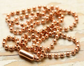 "48ft Solid Copper Ball Chain 2.4mm with 36 End Connectors - Makes Lot of 36x16"" or 32x18"" Necklaces, Made in USA"