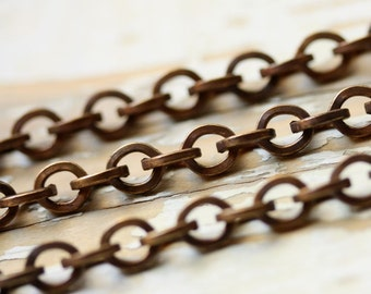 6ft Chunky Antiqued Brass Cable Chain 6mm x 7mm, Square Wire, Large Round Solid Brass Belcher Rolo