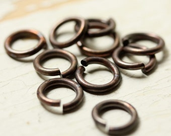 "16g Solid Brass Jump Rings 10mm Hand Antiqued Jumpring, Large Saw Cut Open, 1/4"" ID Oxidized - 10 pc, Findings"