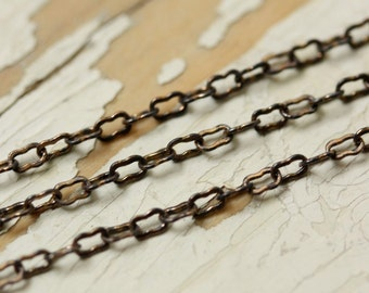 6ft Antiqued Solid Brass Peanut Chain Fine 1.8mm x 2.8mm, Ornate Crinkle Chain, Soldered Strong Square Wire