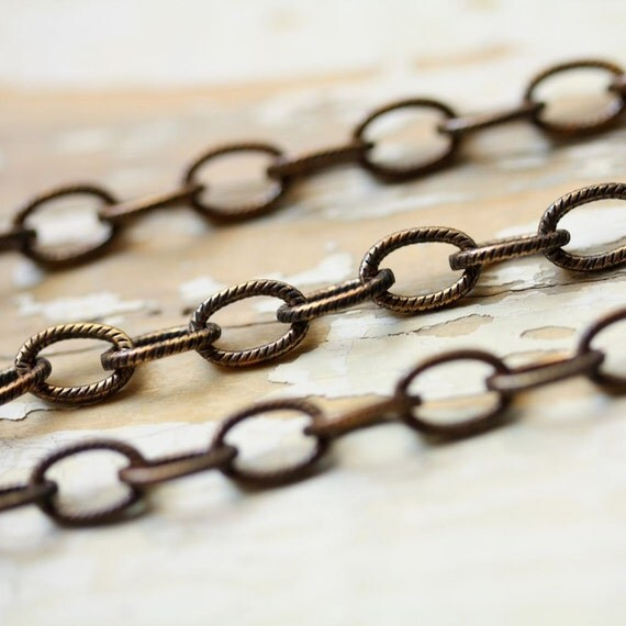 20ft Antiqued Brass Etched Cable Chain, 6mm x 8mm Links Elongated Oval Oxidized Brass, Solid Brass Chain Bulk