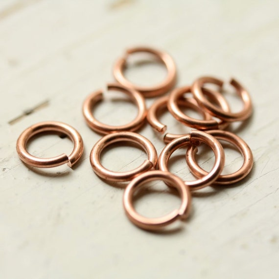 """18g Solid Copper 8mm Jump Rings Saw Cut Open Unsoldered, 7/32"""" ID - 10 pc, Findings"""