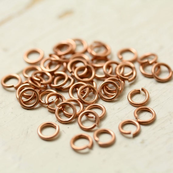 "20g Solid Copper Jump Rings 5 mm Saw Cut Open, 1/8"" ID Unsoldered - 50 pc, 5mm OD 3mm ID, Findings"