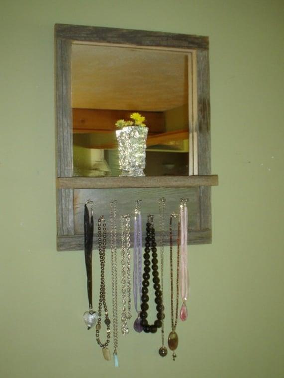 Barnwood Mirrored Shelf