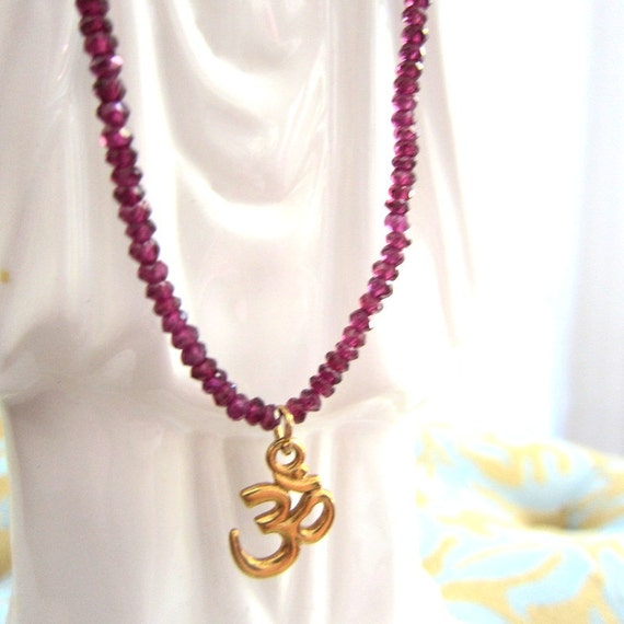 Raspberry Pink Garnet necklace with gold vermeil OM Reseved for Virginia