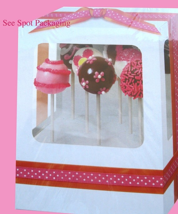 Cake Pop Box Pop Cake Boxes window cupcake boxes valentines cake ball  pops Christmas cake pops Birthday cake pops Halloween cake pops w10