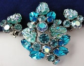 Vintage Weiss Blue Fruit Salad Brooch Earring Set Carnival Glass Blue Rhinestones Large Stones