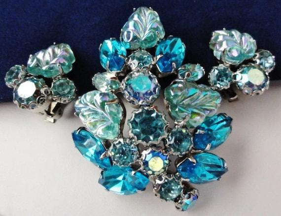 Vintage Weiss Blue Fruit Salad Brooch Earring Set Carnival Glass Blue Rhinestones Large Stones