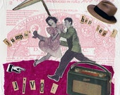 Jumpin' Jive - Retro Collage giclee print, Vintage Style, Happy Home Decor, Burgundy, Retro Gift