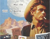 James Dean/Jack o' Hearts Cowboy Collage, giclee print, Retro Gift idea, Fathers Day, Bob Dylan Song