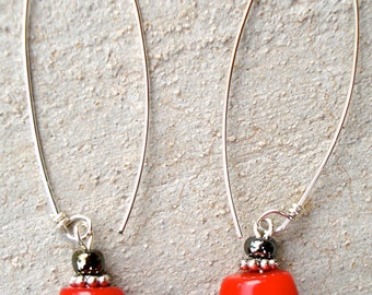"Red coral and stering dangle ""drops"""