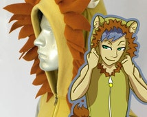 Lion Hoodie, Costume, Cosplay, Adult Size, Hand-made
