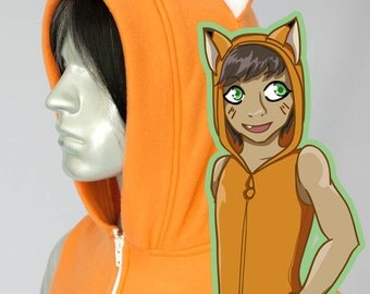 Fox Kitsune Hoodie, Costume, Cosplay, Adult Size, Hand-made