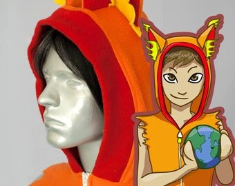 Flame Fox Hoodie, Costume, Cosplay, Adult Size, Hand-made