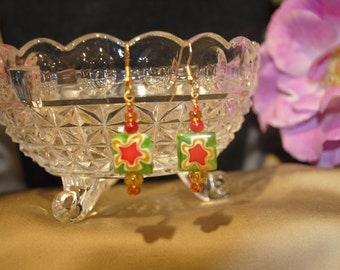 Green, Red and Yellow Art Glass Earrings