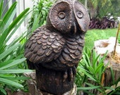 60s / 70s Rustic Heavy Carved Owl Figurine