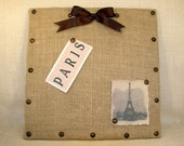 Burlap Memo Board, with Decorative Tacks and Brown Ribbon, French inspired