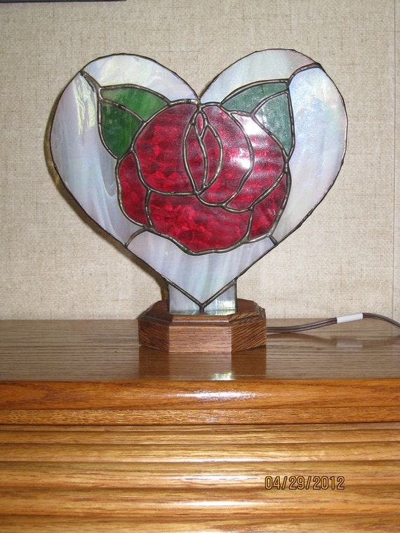 Stained Glass Rose Fan Lamp - Item 5-1014
