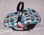 Baby Car Seat Cover w/ pockets and zipper - Blue & Brown Circles Fleece
