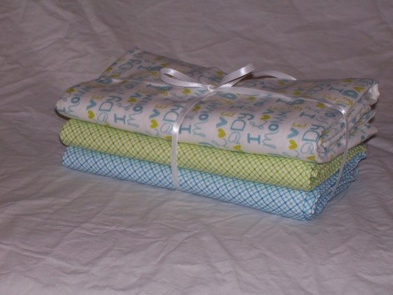 Oversized Receiving Blankets Set of Three - Blue & Green Color Scheme