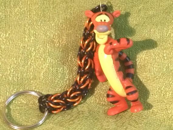 Handmade custom Tigger chainmaille keychain