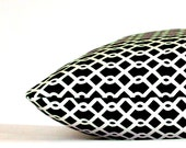 Black Pillow Cover - 20x20 inch Decorative Cushion Cover - Black and White Small Trellis, Designer Fabric with Zipper