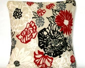 Floral Pillow Cover - 20x20 inch Decorative Cushion Cover - Black White Red Floral, Designer Fabric with Zipper