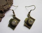 earrings---antique bronze little camera with white bead pendant,alloy earrings