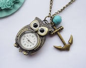 Pocket watch--antique bronze owl pocket watch and anchor,alloy chain necklace