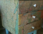 Über cool road map 3 drawer mid century nightstand/end table