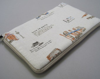 Kindle Case, for Kindle3, Kindle Fire, New Kindle and Kindle Touch. Padded Linen Case. I Love Paris.