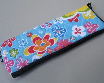 Pen Case, Padded Cotton Case, floral.