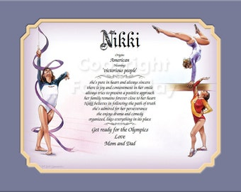 ATHLETIC Gymnastics  Gift Daughter First Name Meaning Personalized Birthday Christmas Gymnast Granddaughter Niece Sports