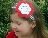 White Crocheted Headband and Red and White Flower