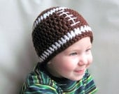 Crochet Football Beanie Hat -- Brown and White, or you choose colors