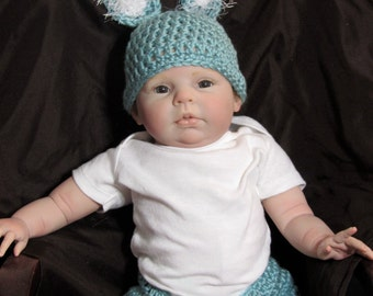 Baby Blue Bunny Hat & Diaper Cover size newborn - 3 months