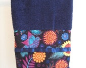 RESERVED 2 Dark Blue Mexican Birds Hand Towel and Washcloth
