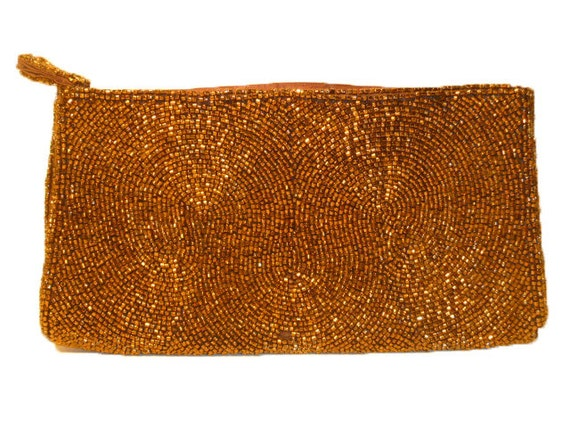 Vintage Brown Beaded Pouch