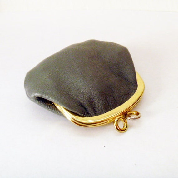 Vintage Coin Purse Leather Gray