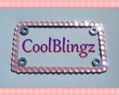 MOTORCYCLE Big BABY PINK Crystal Bling Diamond Rhinestone License Plate Frame