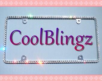 Thin Diamond Sparkle Rhinestone CRYSTAL License Plate Frame Bling made w/ Swarovski Elements Crystals