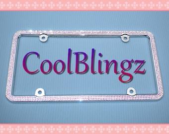 3 Row CRYSTAL AB Bling Diamond Rhinestone License Plate Frame made w/ Swarovski Elements