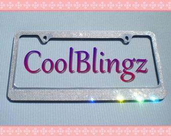 7 Row CRYSTAL Bling Diamond Rhinestone License Plate Frame made w/ Swarovski Elements