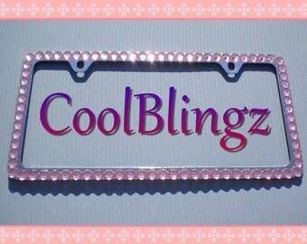 BIG BABY PINK Rhinestone Crystal Diamond Bling License Plate (2 Hole) Frame