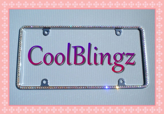 Small Diamond Sparkle Rhinestone CRYSTAL AB License Plate Frame Bling made w/ Swarovski Elements Crystals