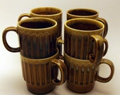 Set of Vintage Japanese Ceramics Stacking Mugs, 6 Pieces, Shades of Brown, FREE SHIPPING