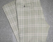 Men's Green and Brown Vintage Plaid Pants, 1970s, 38x29, FREE SHIPPING