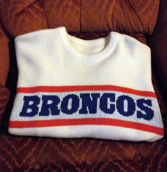 "SALE: Vintage Denver Broncos Coach's/Letterman Style Sweater ""Orange Crush"", Large, FREE SHIPPING"